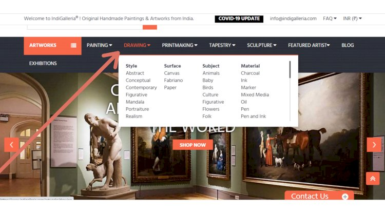 Home page for Ecommece website of IndiGalleria